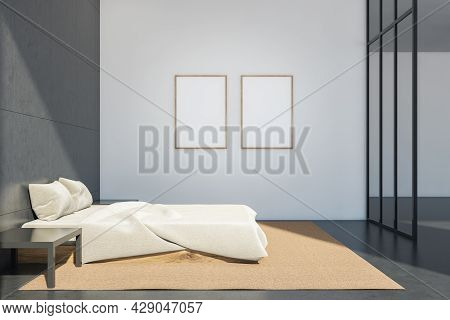 Two Blank Mockups On The White Wall Of The Minimalist Bedroom. Interior With Grey Tiles And Concrete