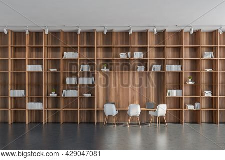 Design, Having Grey Flooring, Lights Above Floor-to-ceiling And Wall-to-wall Bookcase With A Desk Ni