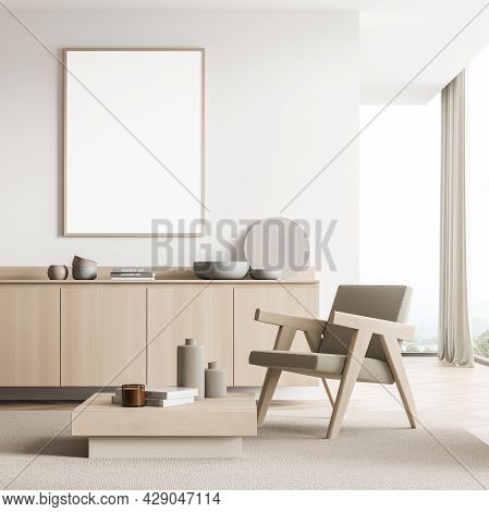 Horizontal Banner In The Light Beige Interior Of The Seating Area With Partition, Two Armchairs, Cof