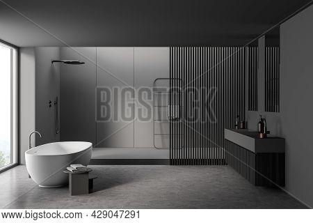Bathroom Interior With Wooden Partition, Concrete Floor, Cabin, Grey Walls, Dark Vanity, Panoramic W