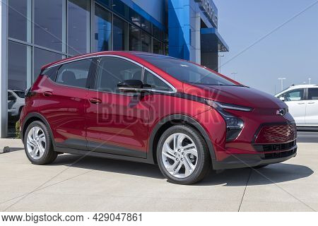 Muncie - Circa August 2021: Chevrolet Bolt Ev Electric Vehicle Display. Chevy Is A Division Of Gm An