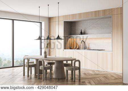 Panoramic Kitchen Interior, Having Niche, Round Table With Textile Stools, Panoramic Window, Parquet