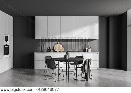 Modern Grey Kitchen Interior, Using Round Black Dining Set Slim Legs, Built-in Ovens And Simple Modu