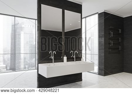 Corner View Of The Bathroom Partition With Walkways On Both Sides To The Panoramic Area. Black And W