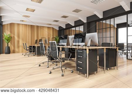 Company Interior With Two Desks, Having Four Places For Work Each, Wooden And Silver Details, Parque