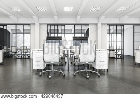 White And Grey Office Interior Of A Modern Company With Desk And Two Rolling Chairs On The Forefront