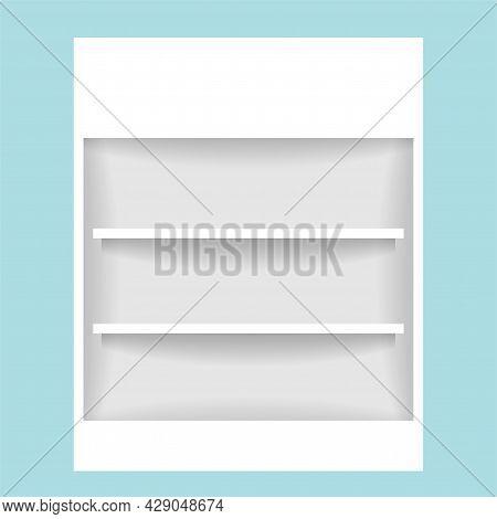 Medicine Cupboard, Plank Shelf For Mock-up Display, Countertop White Color, Modern Shelf For Display
