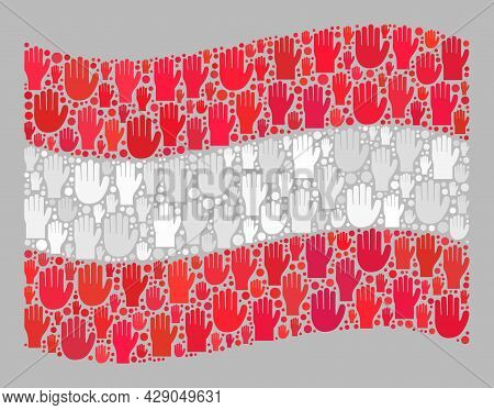 Mosaic Waving Austria Flag Constructed With Raised Up Vote Arm Elements. Vector Vote Mosaic Waving A