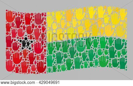 Mosaic Waving Guinea-bissau Flag Designed Of Upwards Support Hand Items. Vector Vote Collage Waving