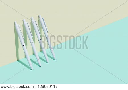 School And Office Supplies On Isometric Diagonal Proection Background. Minimum Set In Ivory, Blue, T