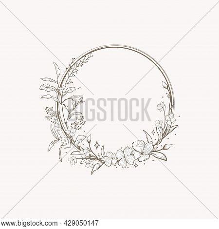 Floral Frame Black Iilustration Drawn Blossom Herb
