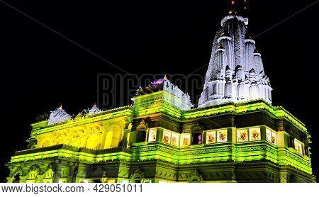 Vrindavan, India May 2021 At Night Prem Mandir ( Love Temple ) Divine Monument, At Vrindavan Mathura