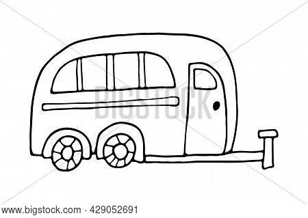 Black Outline Camper Trailer Line Art. Camping Car Art. Summer Camper Family Traveling. Vector Illus