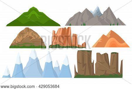 Majestic Mountains Set. Mountain Peak, Hill Top, Iceberg, Nature Landscape. Design Elements For Crea