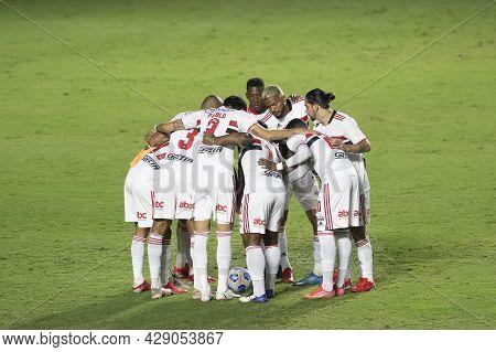 Rio, Brazil - August 04, 2021: Sao Paulo Team In Match Between Vasco Vs Sao Paulo By Brazilian Cup I