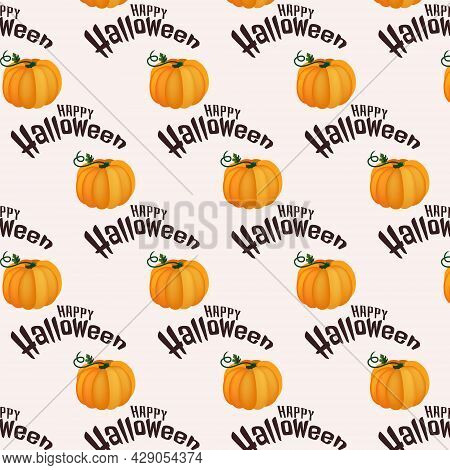 Seamless Patern With Halloween Pumpkin, Halloween Text Isolated On White Background. Hand Drawn Vect
