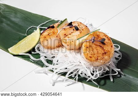 Scallop Sashimi On White Background. Traditional Japanese Food. Seared Scallop Served With Decor, Da
