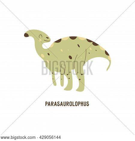 Dinosaur Parasaurolophus. Hadrosaurus. Large Extinct Ancient Herbivorous Reptile With A Crest On Its