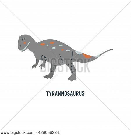 Tyrannosaurus Rex Dinosaur. Large Extinct Ancient Carnivorous Reptile, Jurassic. Colorful Vector Iso