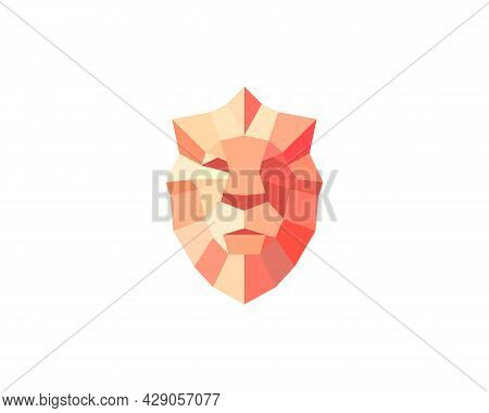 Lion Shield Bright Gradient Vector Logo Design Template. Universal Premium Elegant Creative Symbol.