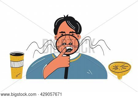 Anosmia Loss Sense Of Smell And Long Covid Concept. Sick Man Lost His Sense Of Smell. Male With Big
