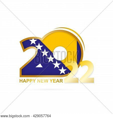 Year 2022 With Bosnia And Herzegovina Flag Pattern. Happy New Year Design. Vector Illustration.
