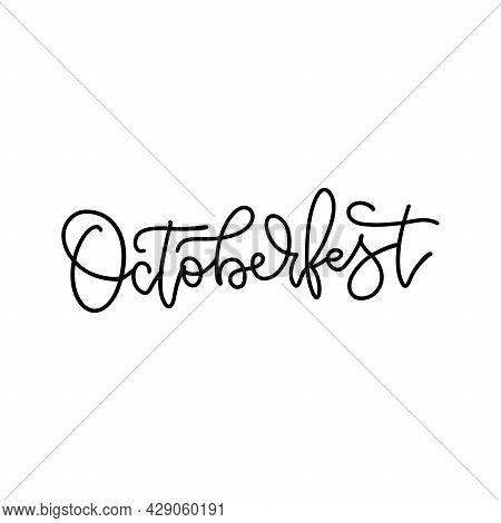 Octoberfest - Hand Lettering Linear Calligraphy Logo. Written Monoline Calligraphy. Trendy Typograph