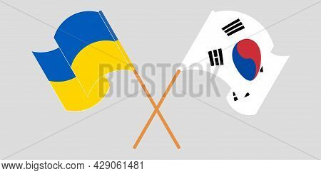 Crossed And Waving Flags Of The Ukraine And South Korea