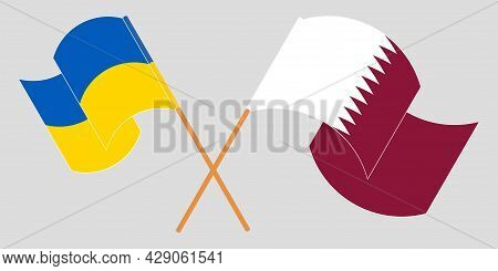 Crossed And Waving Flags Of Ukraine And Qatar