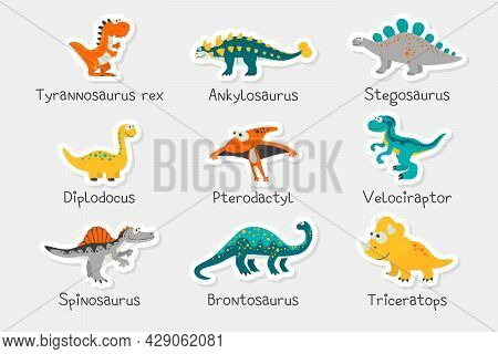 Vector Paper Stickers. Cute Funny Dinosaurs And Titles - T-rex, Stegosaurus, Velociraptor, Pterodact