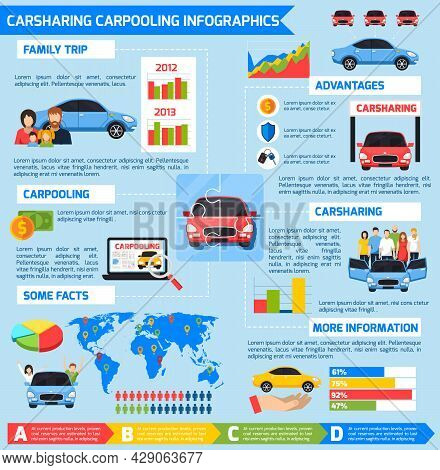 Carsharing Carpooling Infographics With Advantages Diagrams Vehicles And Colorful Elements In Flat S