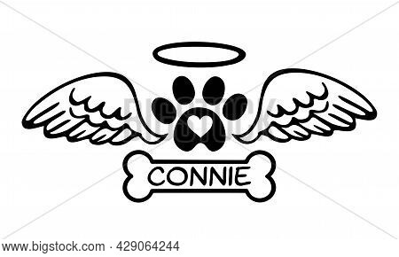 Pet Dog ,cat Memorial.footprint Of Pet's Paw With Heart,angel Wings,halo,bone Tag Frame.connie.dog M