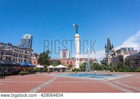 Batumi, Georgia - July 2, 2021: The European Square With The Medea Monument, Fountain And Restaurant