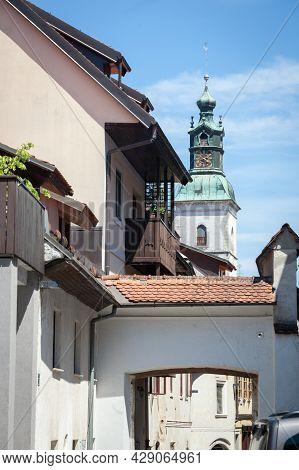 Church Of Saint Jacob, Or Cerkev Svetega Jacoba, Seen From Medieval Narow Street In The Historical C