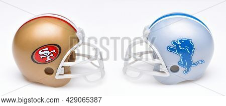 IRVINE, CALIFORNIA - 24 JUNE 2021: Football helmets of the San Francisco 49ers and Detroit Lions, Week One opponents in the NFL 2021 Season