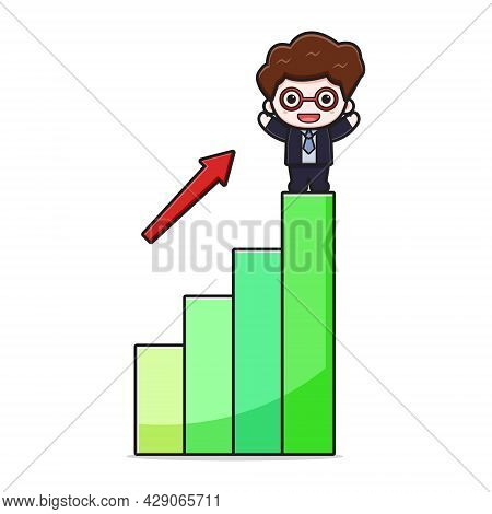 Cute Successful Businessman With Inflation Chart Cartoon Vector Icon Illustration. Design Isolated O