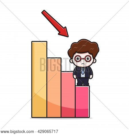 Cute Businessman With Deflation Chart Cartoon Vector Icon Illustration. Design Isolated On White. Fl