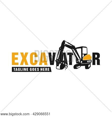 Excavator Heavy Equipment Illustration Logo Design Or Brand