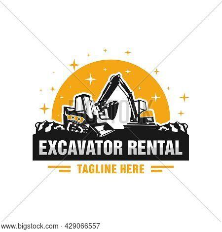 Skid Steer And Excavator Rental Illustration Logo Design