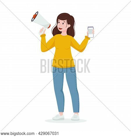Ugc Concept. Woman Speaks Into A Megaphone With A Phone In Her Hands. Content Creation, Reviews.