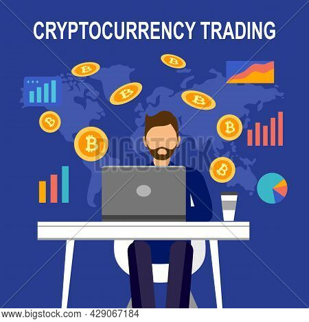 Cryptocurrency Trading Concept Vector Illustration. Investor Trading Bitcoin With Laptop Computer In