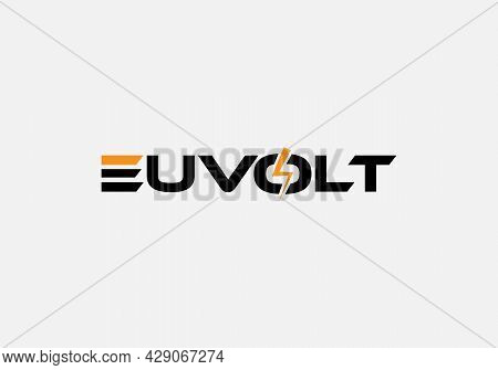 Abstract Euvolt Typography Wordmark Tech Minimalist Logo Design