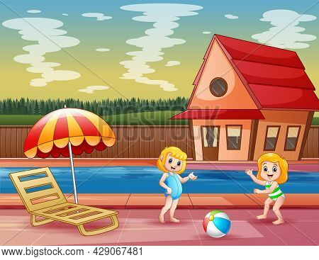 Happy Girls Playing At The Poolside Illustration