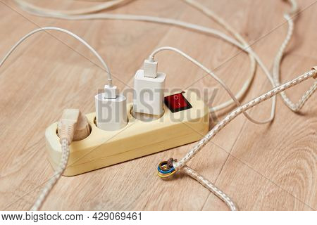 The Photo Shows An Extension Cord With A Large Current Consumption. The Concept Of High Energy Consu
