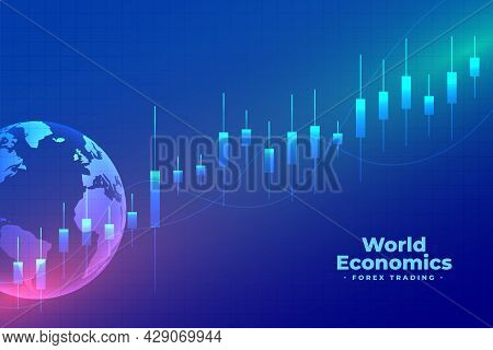 World Economics Forex Trading Blue Background Vector Template Design