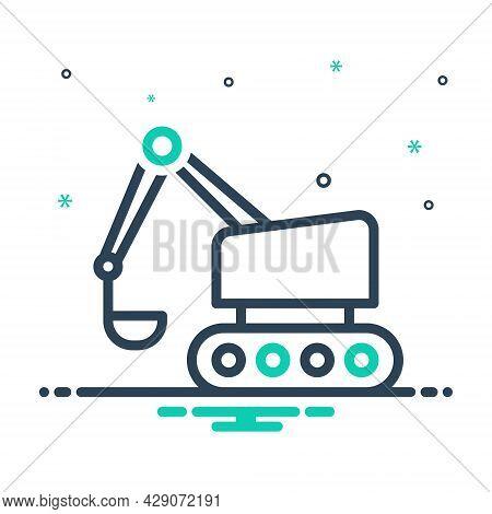 Mix Icon For Bulldozer Excavator Road-roller Crawler  Backhoe Build Equipment Mini Machinery Excavat