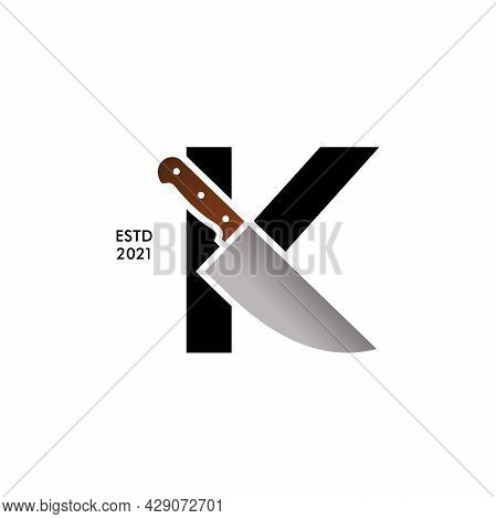 Bold And Strong Illustration Logo Design Initial K Combining With Cooking Knife. Logo Can Work As We