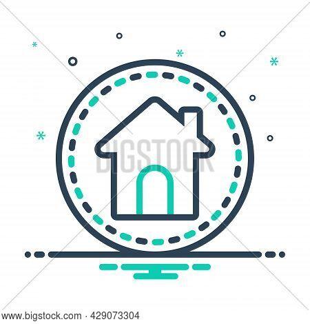 Mix Icon For Main House Home Premises Dwelling Residence Habitation