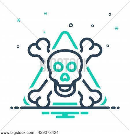 Mix Icon For Danger Menace Peril Jeopardy  Daubt Pitfall Skull Skeleton Bone Halloween Warning Scary