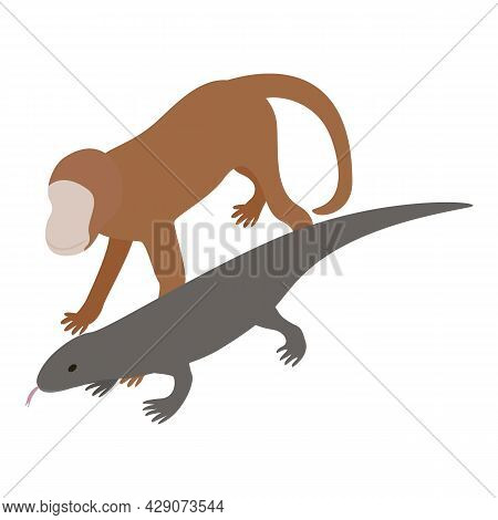 Exotic Animal Icon Isometric Vector. Brown Little Monkey And Gray Monitor Lizard Icon. Wildlife, Zoo